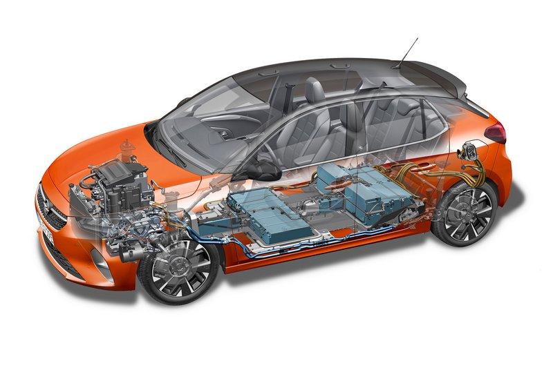 To Corsa-e ενσωματώνει μπαταρία 50 kWh που του προσθέτει 450 κιλά βάρους, προσφέροντας 135 ps και 260 Nm ροπής.